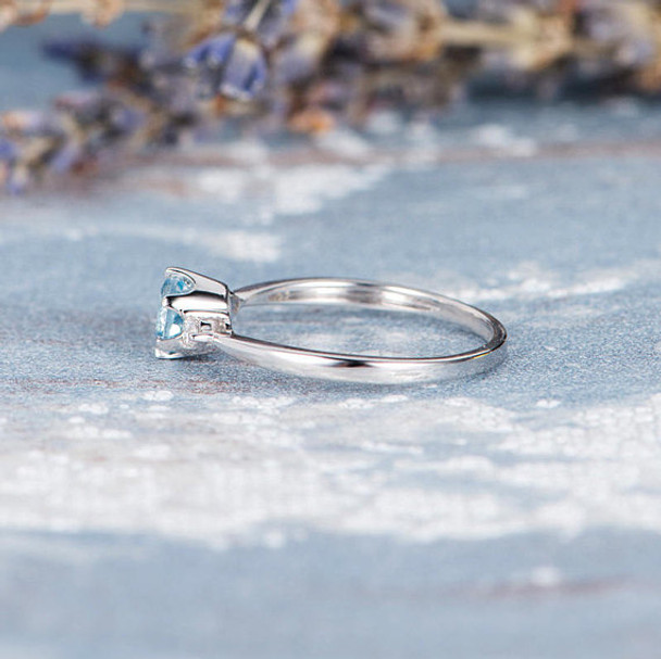 Three Stone 5mm Aquamarine Promise Ring