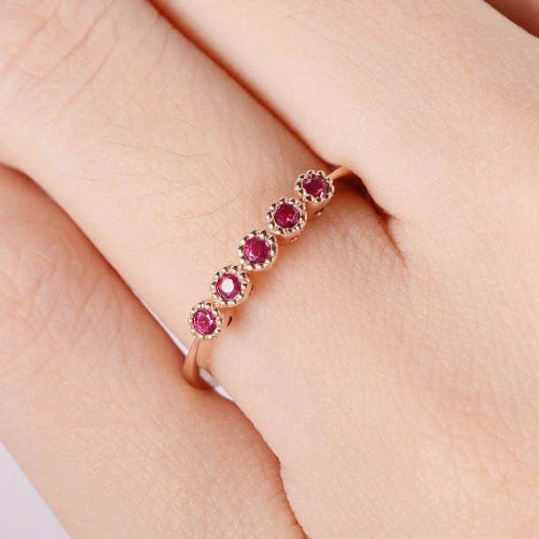 Ruby Ring Rose Gold Women Promise Ring