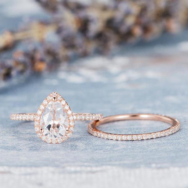 6*8mm Pear Cut White Topaz Engagement Ring Set Bridal Set