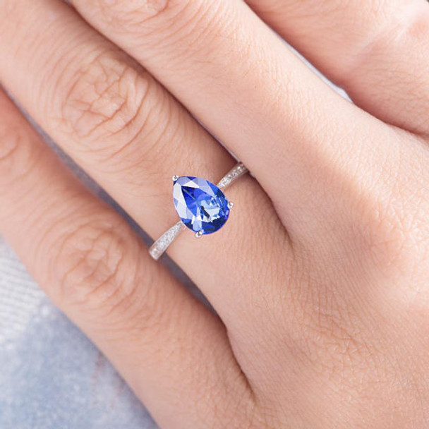 6*8 Pear Shaped Tanzanite Engagement Ring Solitaire Ring