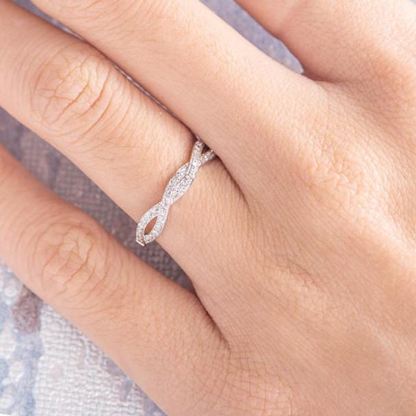 Infinity Ring Diamond Unique Wedding Band
