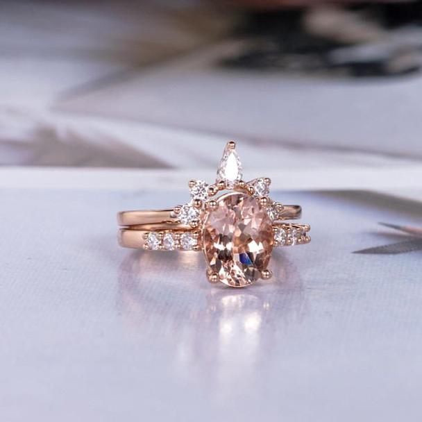 6*8 Oval Cut Morganite Wedding Ring Rose Gold