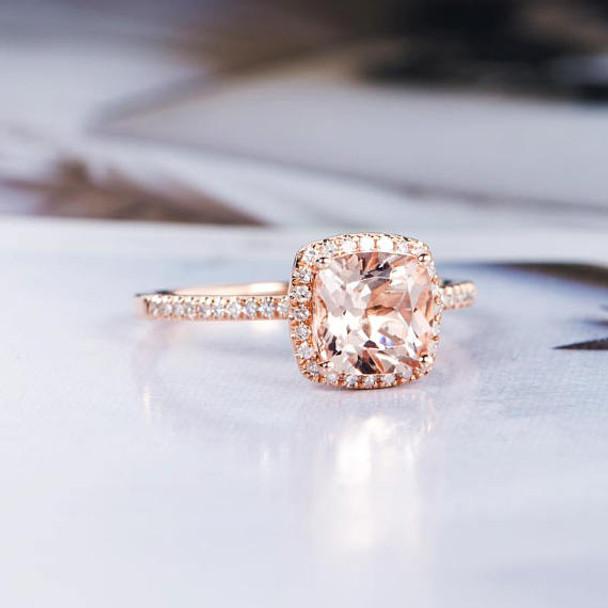 6mm Cushion Cut Morganite Engagement Ring Rose Gold
