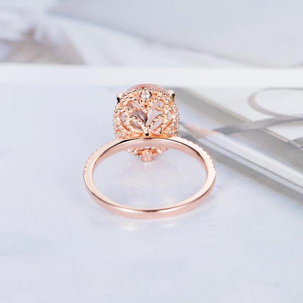 10*12mm Oval Cut Big Unique Antique Morganite Engagement Ring