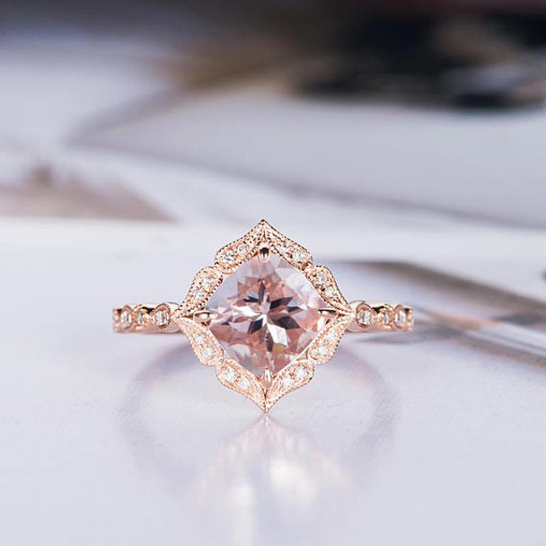 Rose Gold 7mm Cushion Cut Bridal Morganite Ring