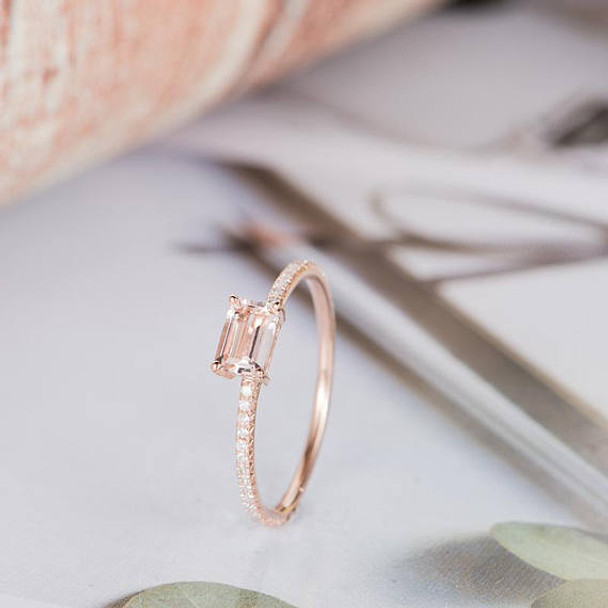 4*6mm Emerald Cut Morganite Promise Ring