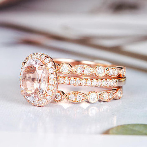 3psc 6*8mm Oval Cut Morganite Diamond Wedding Engagement Ring Set