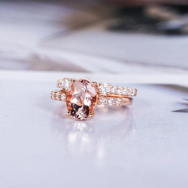 6*8mm Oval Cut Morganite Wedding Ring Bridal Set