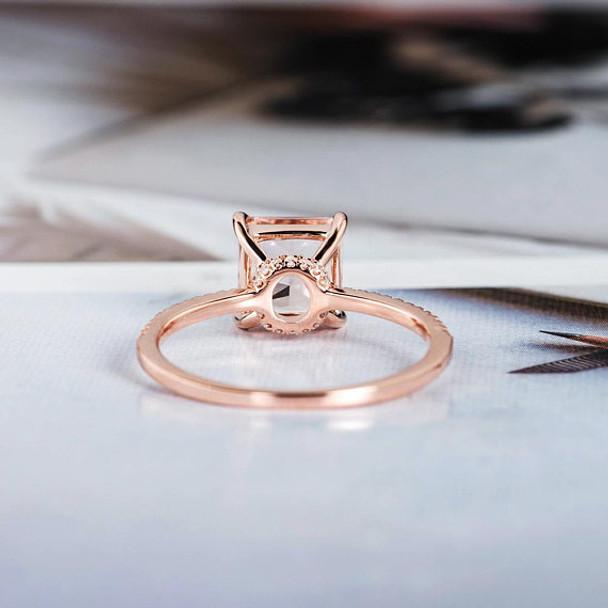 Antique Wedding Diamond Halo 7mm Princess Cut Morganite Ring