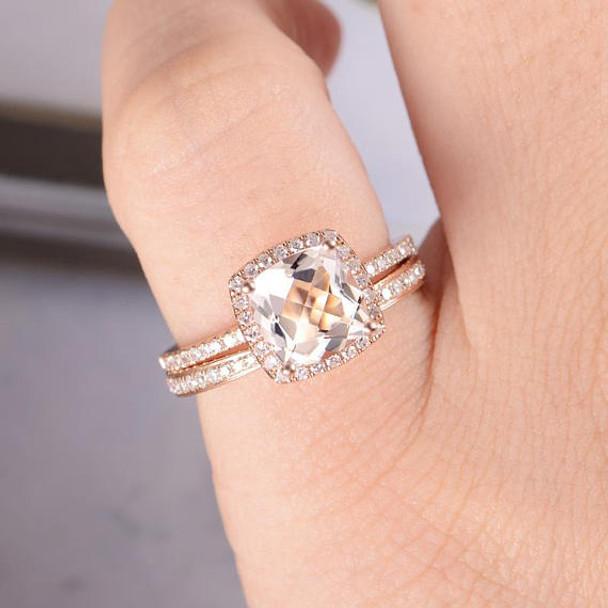 Wedding Diamond 7mm Cushion Cut Morganite Engagement Ring Set