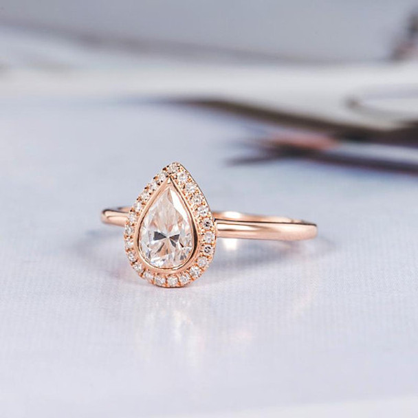5*7mm Pear Shaped Bezel Moissanite Engagement Ring