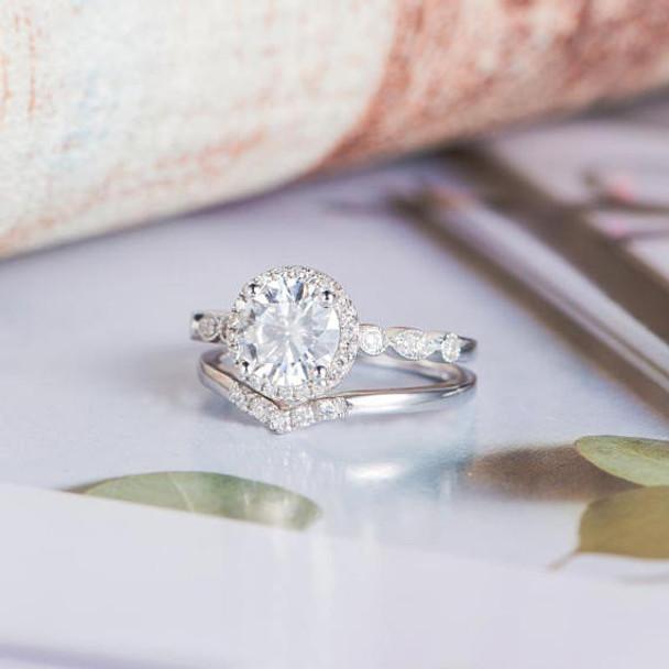6.5mm Round Moissanite White Gold  Engagement Ring Set
