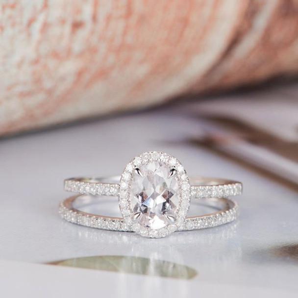 6*8mm Oval Cut Halo Diamond Moissanite Ring Set