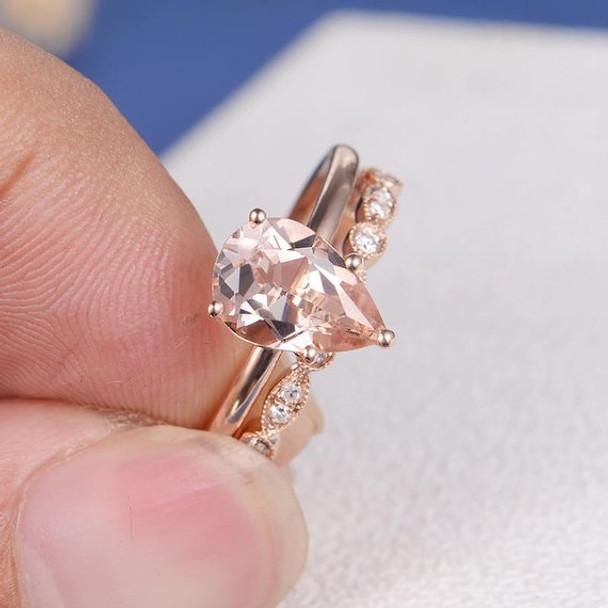 6*9mm Pear Cut Morganite Engagement Ring Set