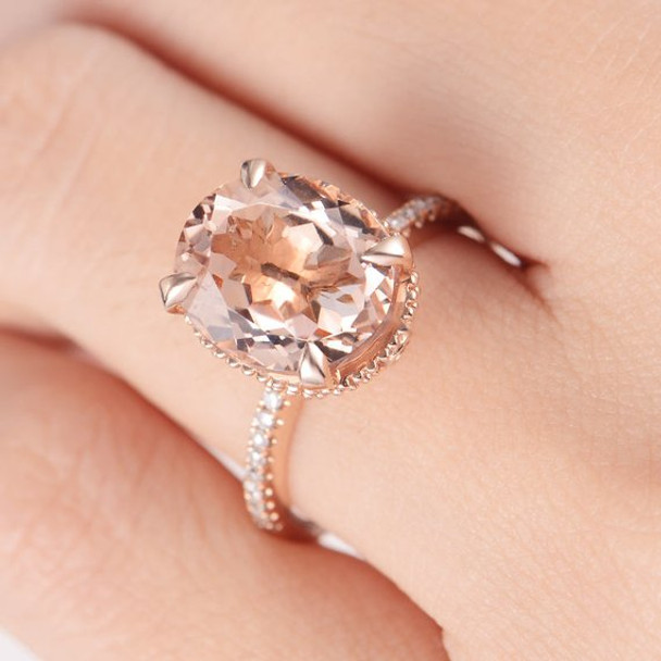 9*11mm Oval Cut Big Unique Antique Morganite Engagement Ring