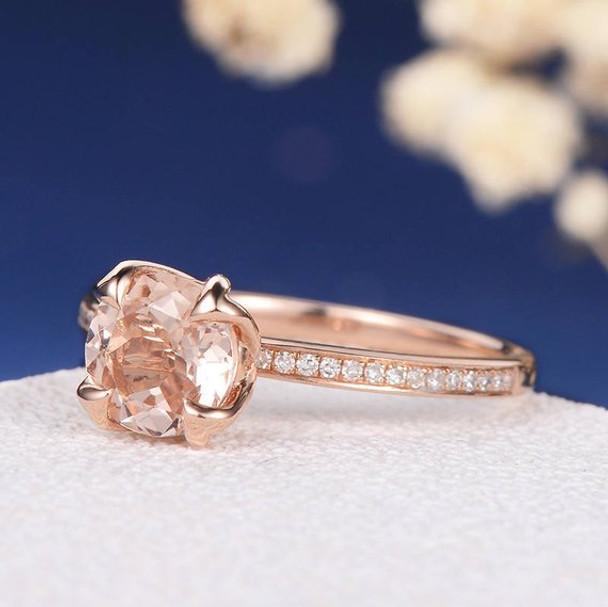 7mm Round Retro Unique Solitaire Simple Morganite Anniversary Ring