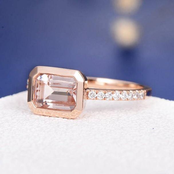6*8 Emerald Cut  Morganite Bezel Set Anniversary Solitaire  Engagement Ring