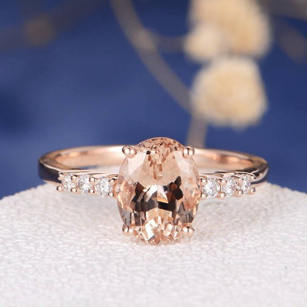 6*8mm Pink Morganite Ring Oval Cut Engagement Ring