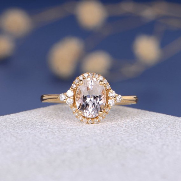 6*8mm Oval Cut Pink Morganite Ring  Anniversary Gift