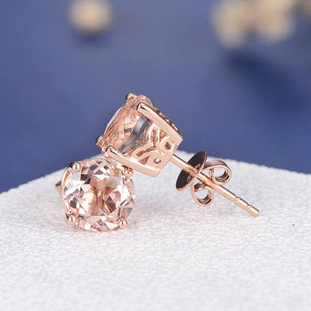 7mm Round Morganite Earring Art Deco Studs