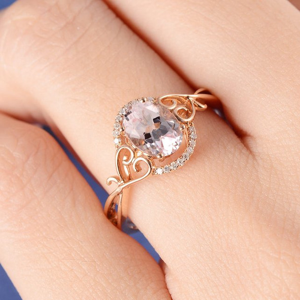 6*8mm Oval Cut Morganite Split Shank Heart Twig Anniversary Ring