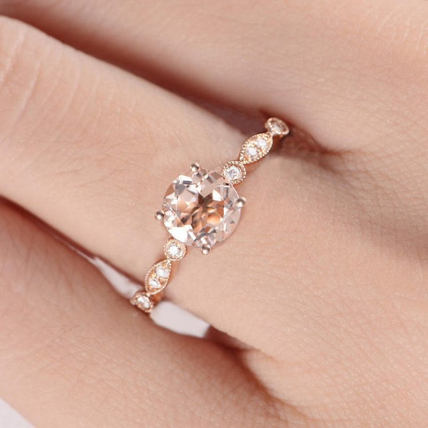 7mm Round  Solitaire Simple Morganite Engagement Ring