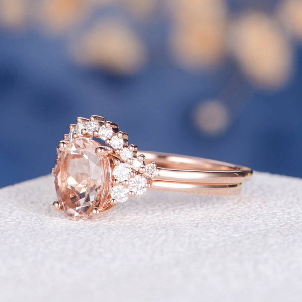 7*9mm Oval Cut Morganite Cluster Diamond Ring Custom Band Personalized