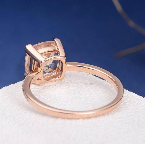 8mm Cushion Cut Half Eternity Bridal Morganite Ring