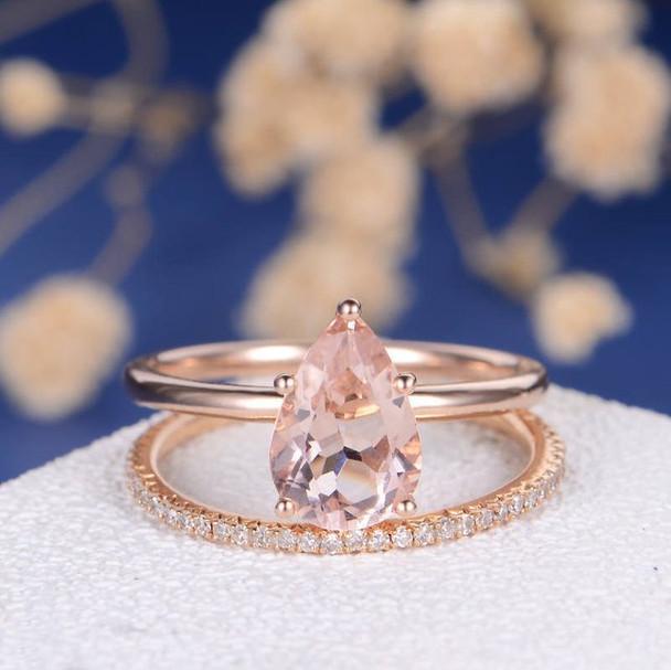 6*9mm Pear Cut Morganite Engagement Full Eternity Pave Band Ring Set