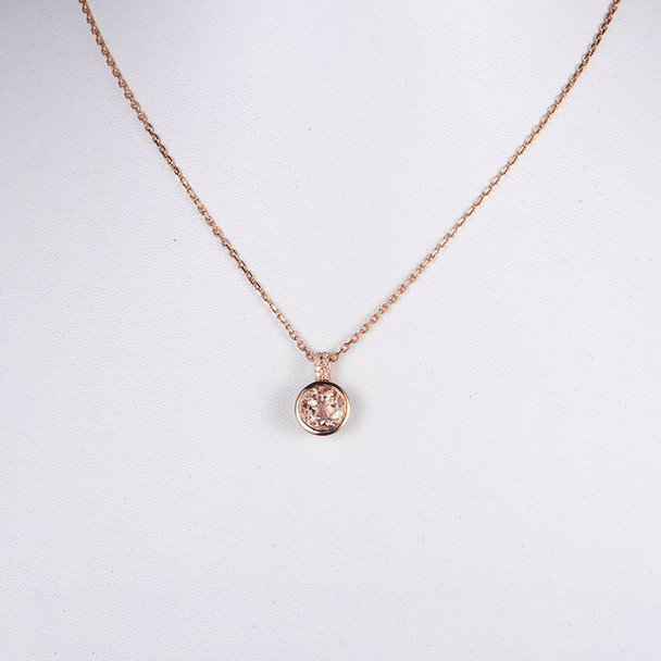 Rose Gold Necklace  8mm Peachy Morganite Pendant