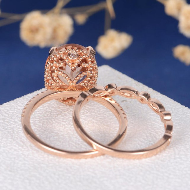 9*11mm Oval Cut Morganite Wedding Ring Anniversary Stacking 2pcs