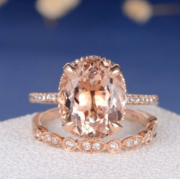 9*11mm Oval Cut Morganite Wedding Ring Anniversary Stacking 2pcs
