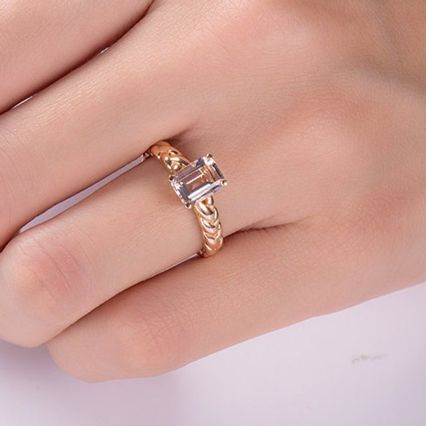 6*8 Emerald Cut  Morganite Anniversary Solitaire Knot Ring