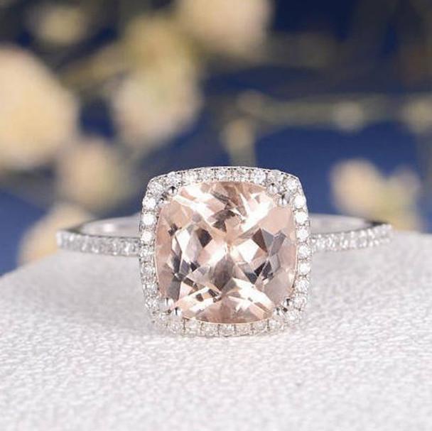 9mm Cushion Cut Morganite Diamond Pave Halo Engagement Ring