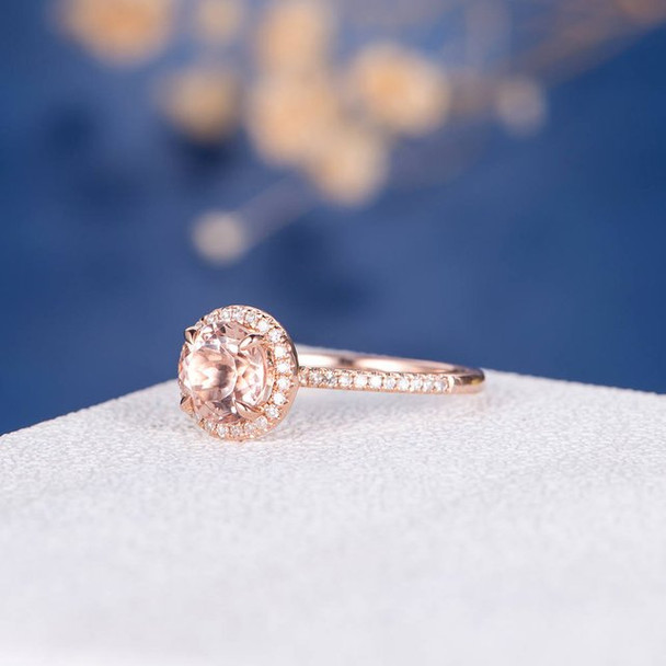 White Gold 7mm Round Cut  Morganite Engagement Promise Ring