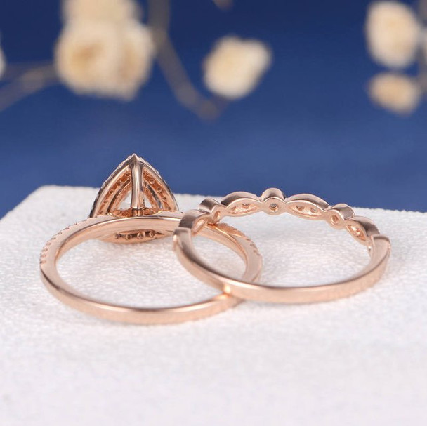 6mm Triangle Morganite Wedding Ring Anniversary Stacking 2pcs