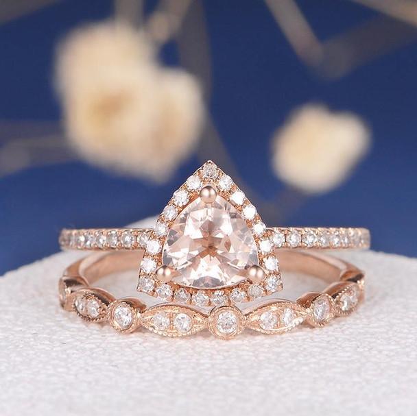 6mm Triangle Morganite Wedding Ring Anniversary Stacking 2pcs