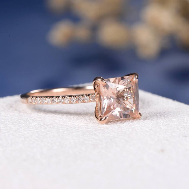 7mm Princess Cut Morganite Ring Antique Wedding Diamond Halo