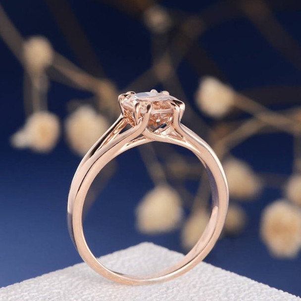 7mm Round Cut  Morganite Anniversary Solitaire Engagement Ring