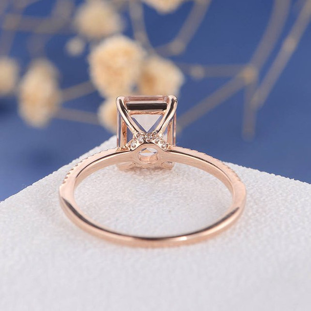 7*9 Emerald Cut  Morganite  Anniversary Solitaire  Engagement Ring
