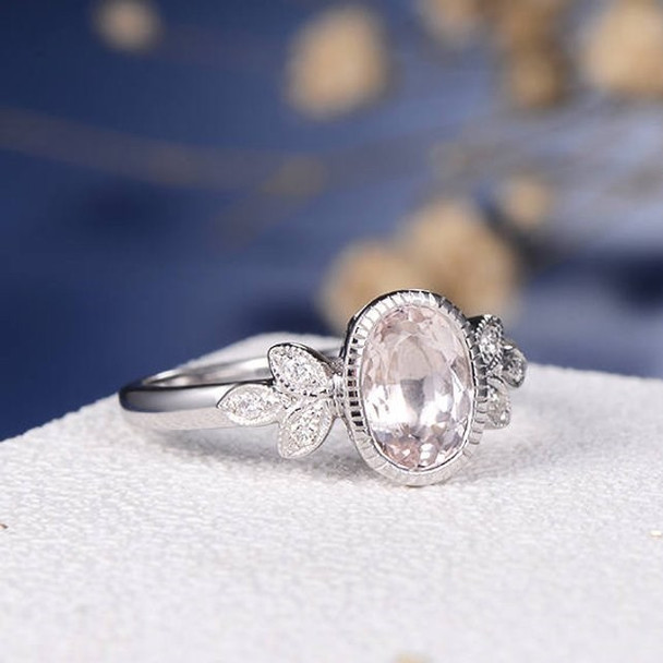 6*8mm Oval Cut Bezel Set Morganite  Engagement Ring