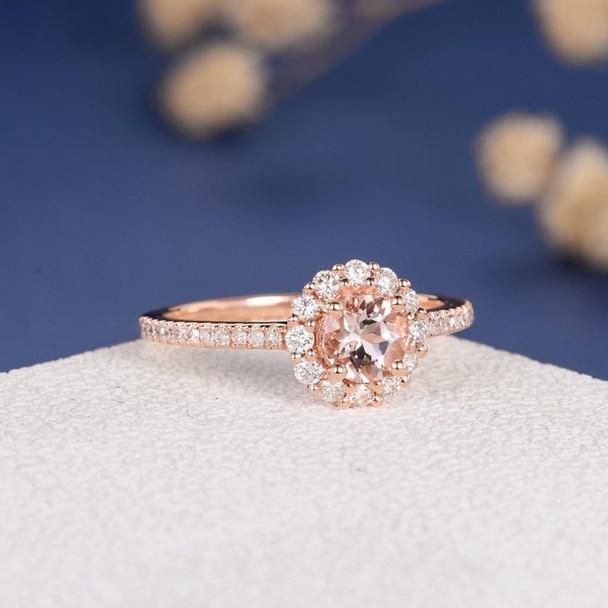 5mm Round  Morganite Flower Rose Gold Engagement Ring