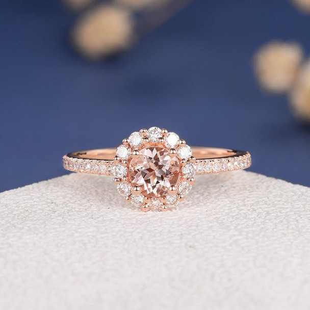 5mm Round  Morganite Flower Rose Gold Engagement Ring
