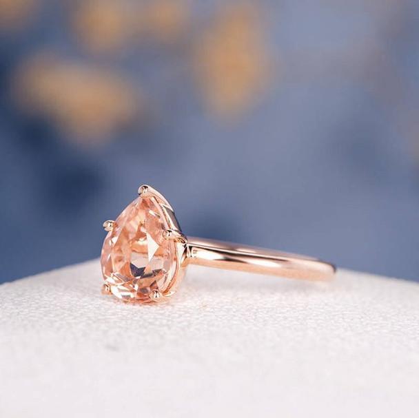 6*9mm Pear Cut  Morganite Ring Stacking Minimalist Anniversary Ring