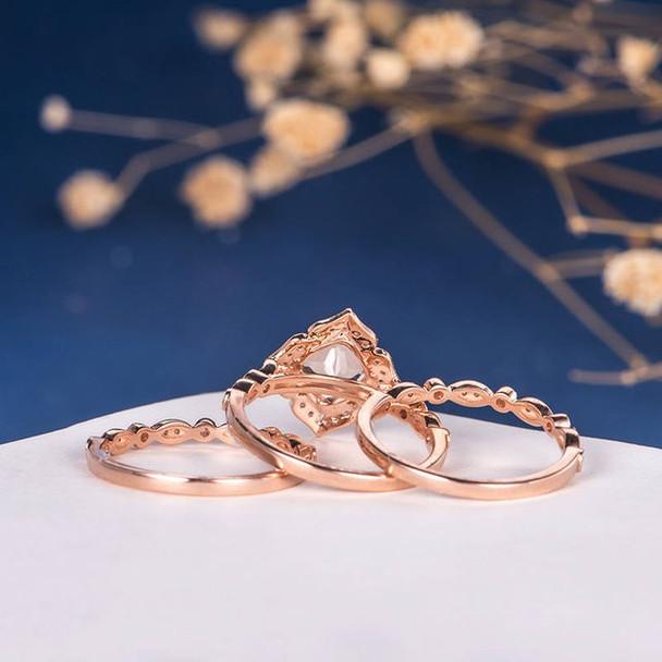 7mm Cushion Cut Morganite Halo Diamond  Bridal Set Retro 3pcs