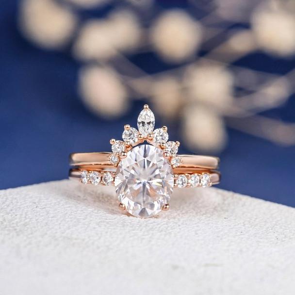 7*9mm Oval Cut Moissanite Engagement Ring Set