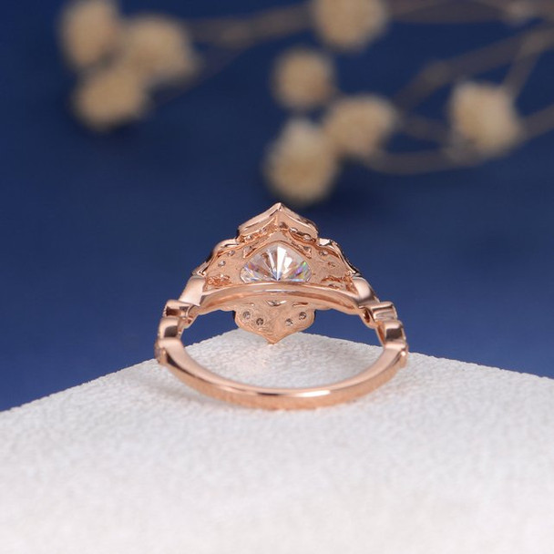 Rose Gold 7mm Cushion Cut Moissanite Ring  Vintage Ring