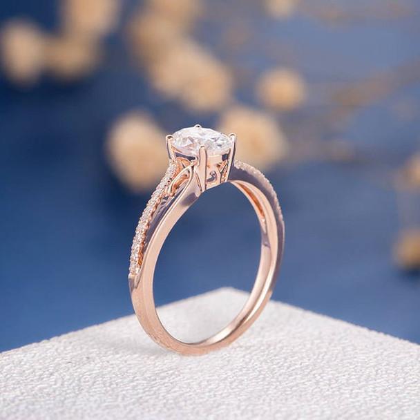 5*7mm Oval Cut Moissanite Flower Retro Bridal Ring