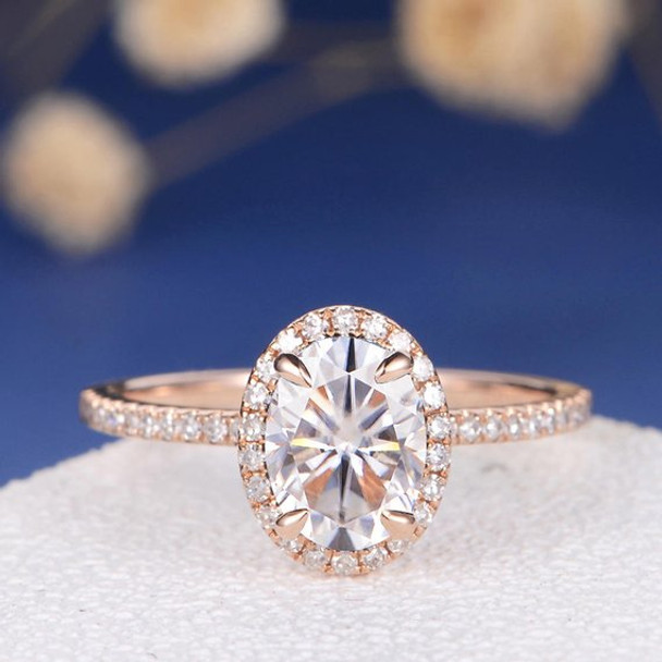 6*8mm Oval Cut Moissanite Diamond Halo Half Eternity Engagement Ring