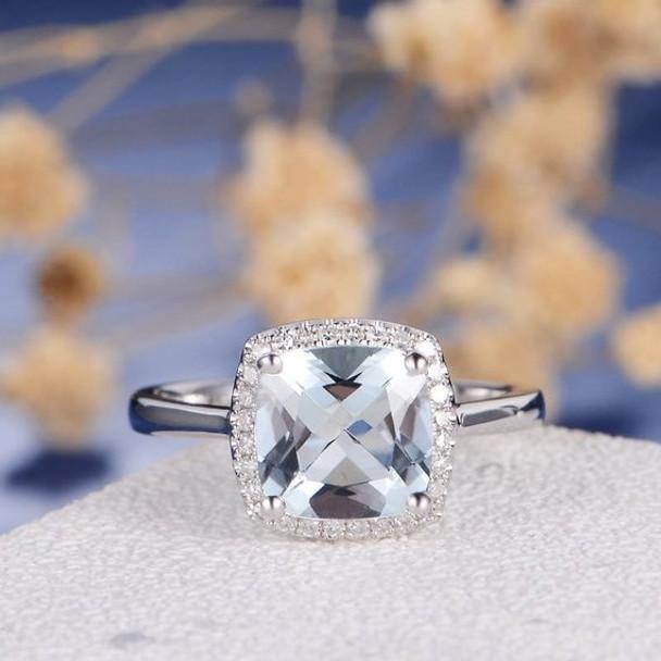 Aquamarine Engagement Ring Cushionl Cut Halo Diamond White Gold